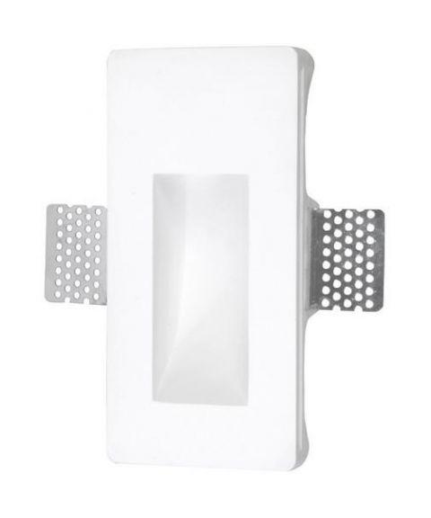 Secret innfelt vegglampe, 1W LED, Smal modell, Hvit gips
