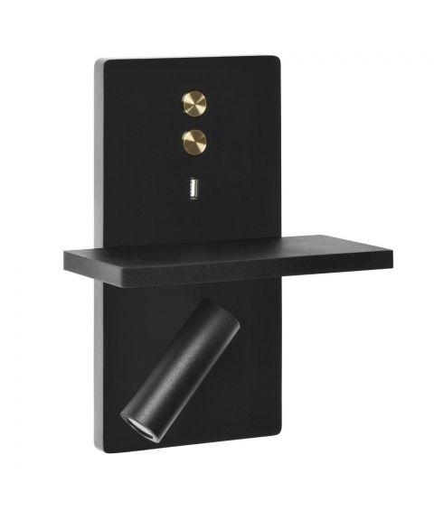 Elamp vegglampe med hylle og USB-utgang