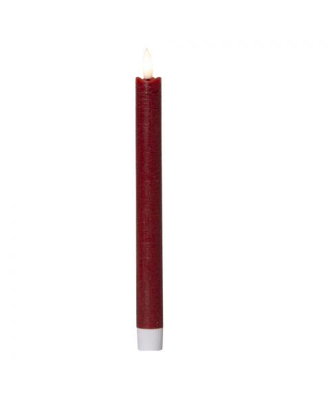 Flamme kronelys 25 cm 3D-flamme, for batteri (AAA), med timer, 2-pk, Rød