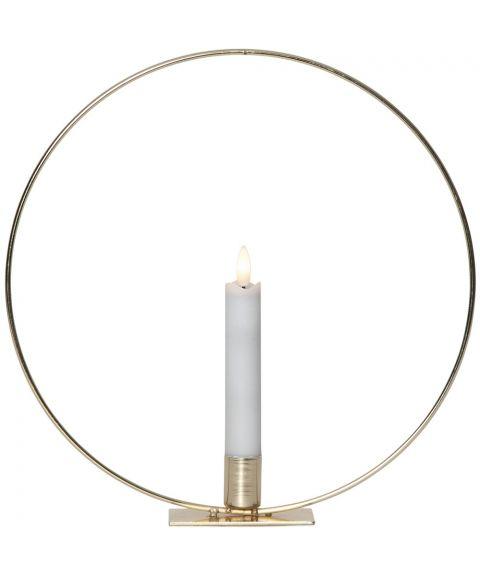 Flamme bordlampe med kronelys timer, Messingfarget