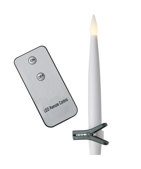Paulina Stearinlys, pakke med 10 lys med klype, fjernkontroll, for batteri