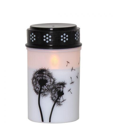 Dandelion gravlys med dekor, for batteri, med timer, høyde 12 cm, Hvit