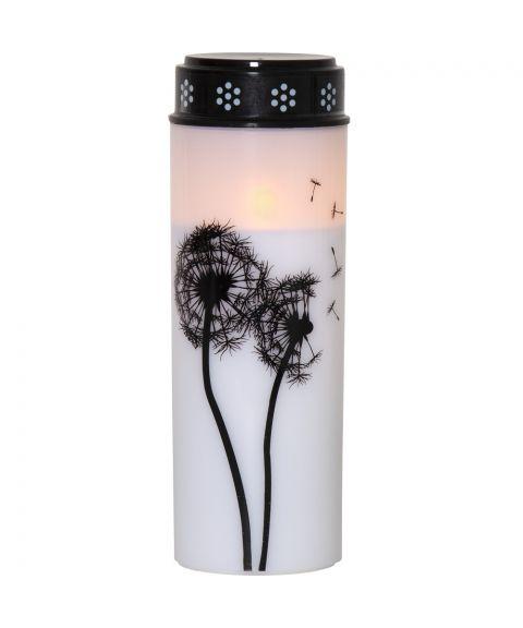 Dandelion gravlys med dekor, for batteri, med timer, høyde 21 cm, Hvit