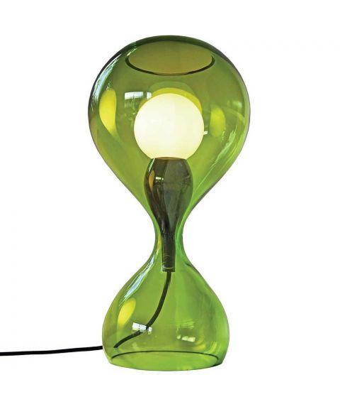 Blubb bordlampe med ledningsdimmer, høyde 42 cm, Grønt glass