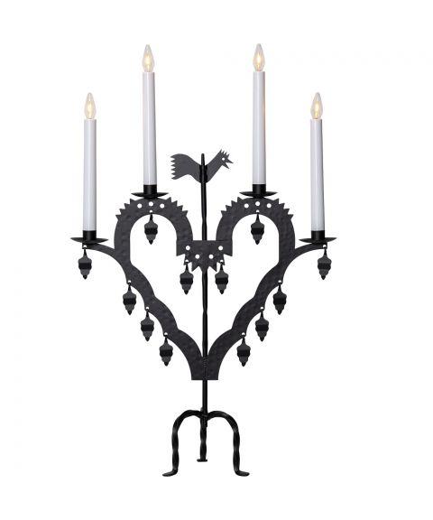 El-tupp lysestake med 4 lys, høyde 62 cm, Sort