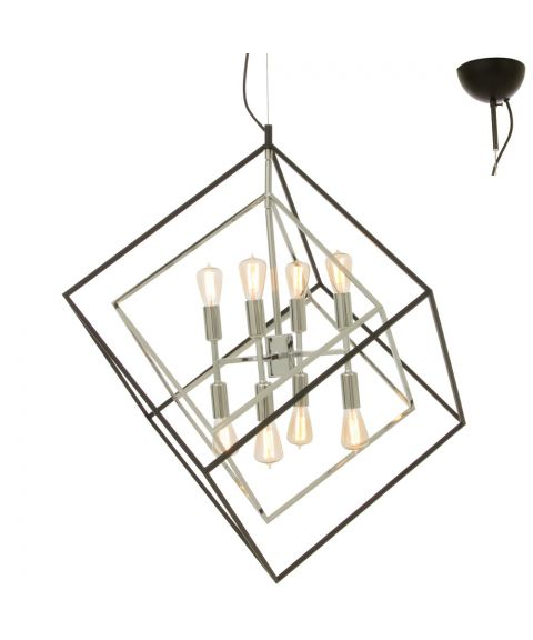 Cubes 8 takpendel, 73 x 73 cm, Sort / Krom