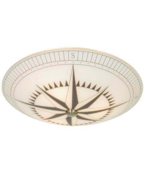 Kompass plafond, diameter 42 cm, Hvit / Sort / Stål