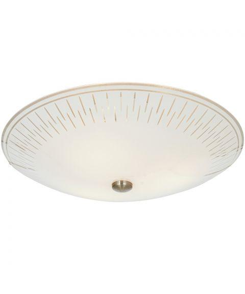 Aveny plafond, diameter 42 cm, Hvit blank / Stål