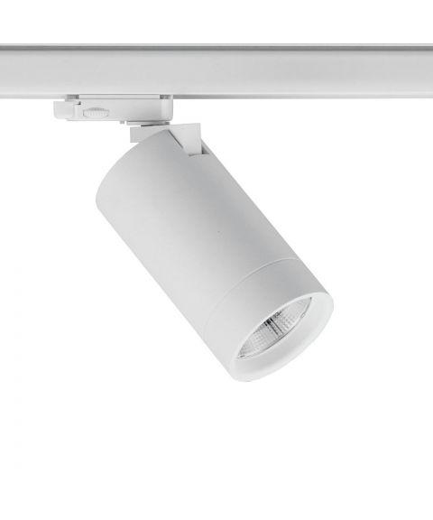 Levi spot for Global 3T-skinne, dimbar 20W LED 3000K 1805lm, 40° spredning, Hvit