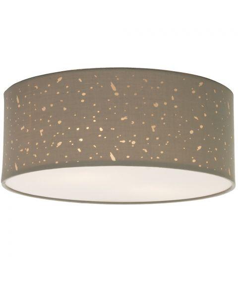 Starry taklampe med tekstilskjerm, diameter 38 cm, Grå