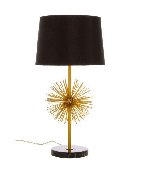 Brisad bordlampe, høyde 60 cm, Gull / Sort