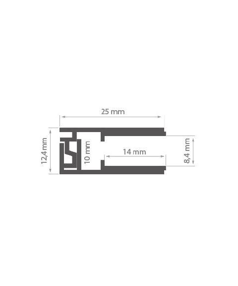 Aluminiumsprofil Krav 810, anodisert, 2 meter, Aluminium