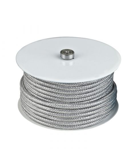 Stofftrukket ledning, 25 meter, Sølv