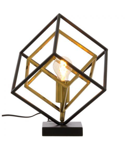 Cubes bordlampe, høyde 35 cm, Sort / Matt messing