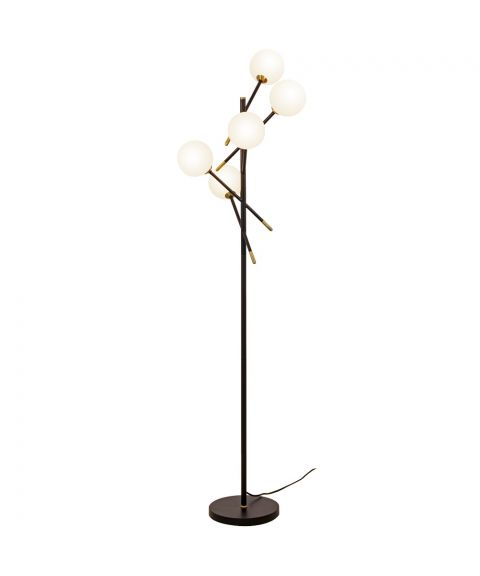 Akrobat gulvlampe, høyde 164 cm, Sort/Messingfargede detaljer