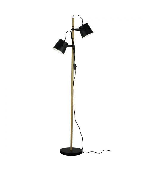 Espresso gulvlampe, høyde 153 cm, Sort / Tre