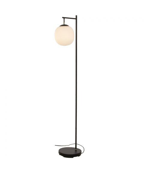 Rille gulvlampe, høyde 150 cm, Sort / Opalhvit