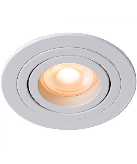 Tube rund downlight for GU10, kan tiltes, diameter 9 cm, Hvit (restlager)