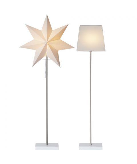 Moa stjerne + skjerm på fot 82 cm E14, Hvit