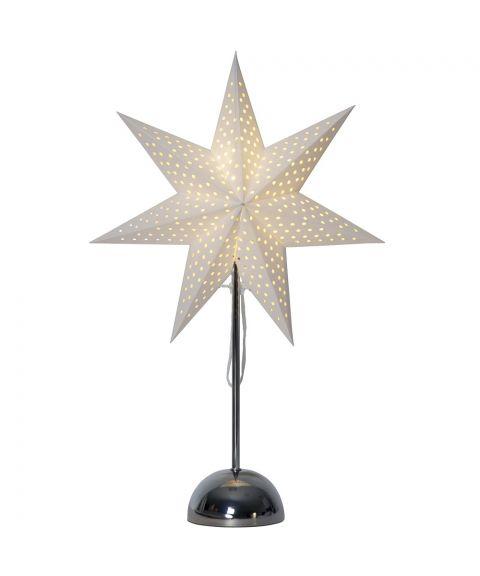 Lottie stjerne på fot, høyde 55 cm, for batteri, med timer, Krom/Hvit