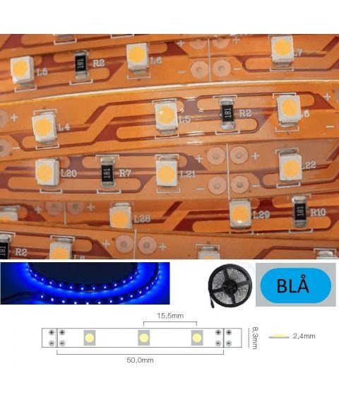 LED Strip 12V IP20 Blå 4,8W/m, CRI>80, 5 meter pakke