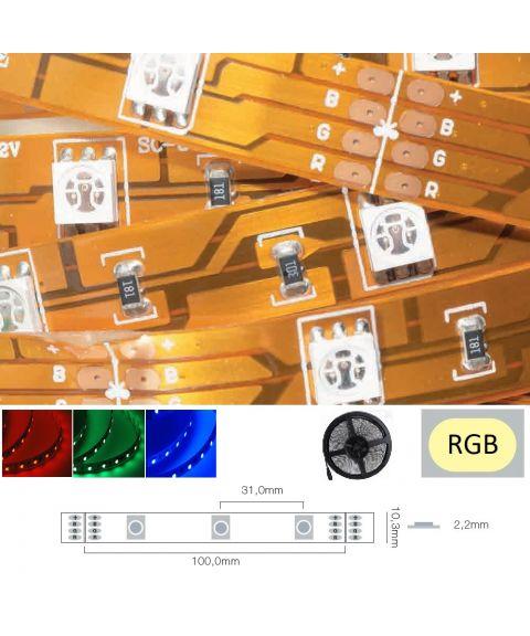 LED Strip 12V IP20 RGB 7,2W/m, 5 meter pakke