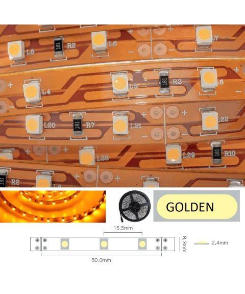 LED Strip 12V IP20 Golden yellow 4,8W/m, 5 meter pakke