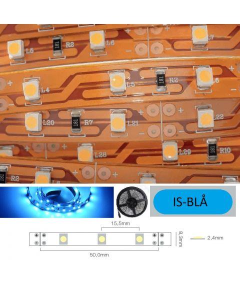 LED Strip 12V IP20 Ice blue 4,8W/m, 5 meter pakke