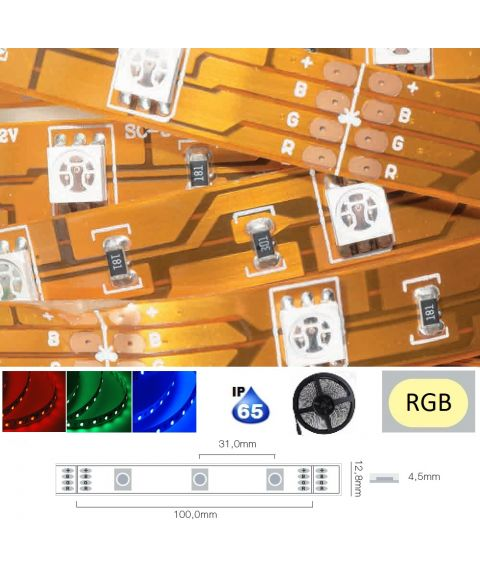 LED Strip 12V IP65 RGB 7,2W/m, 5 meter pakke