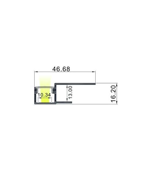 Aluminiumsprofil Structural 4716, 2 meter, Aluminium / Opalhvit avdekning