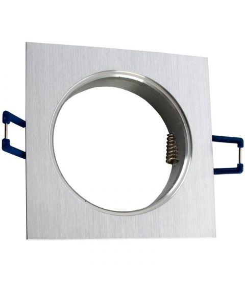 [2] Firkantet downlightramme for Nebraska og Utah lyskilde, hulldiameter 8,2 cm, Aluminium
