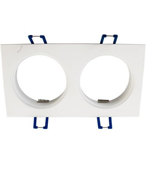 [2] Dobbel downlightramme for Nebraska og Utah lyskilde, hullmål 16,4 x 8,2 cm, Hvit