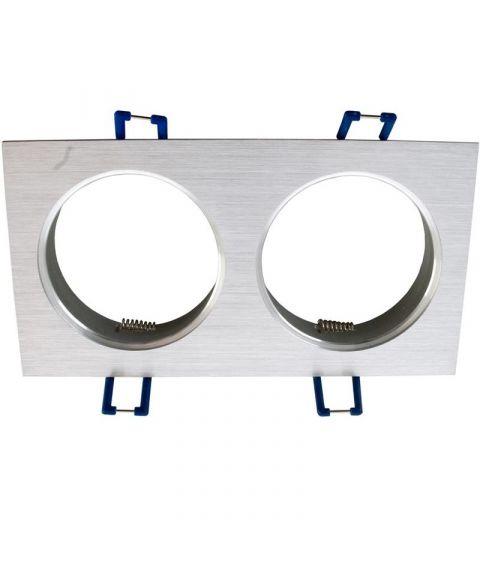 [2] Dobbel downlightramme for Nebraska og Utah lyskilde, hullmål 16,4 x 8,2 cm, Aluminium