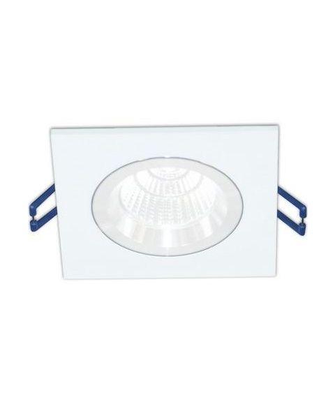 [2] Firkantet downlightramme for Nebraska og Utah lyskilde, hulldiameter 8,3 - 9,5 cm, Hvit