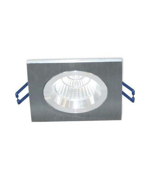 [2] Firkantet downlightramme for Nebraska og Utah lyskilde, hulldiameter 8,3 - 9,5 cm, Aluminium