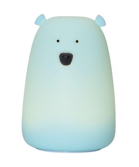 Functional Bear nattlampe stor, Oppladbar, høyde 16 cm, Farget+Varmhvitt lys