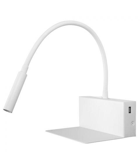 Emma vegglampe med hylle og USB-utgang
