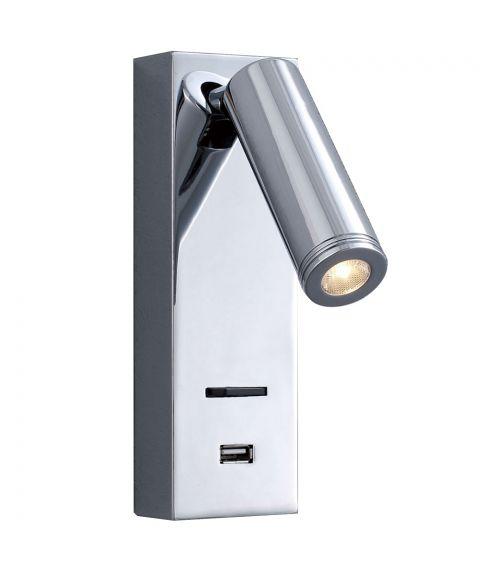 Sarah LED vegglampe for fast montering, USB-utgang
