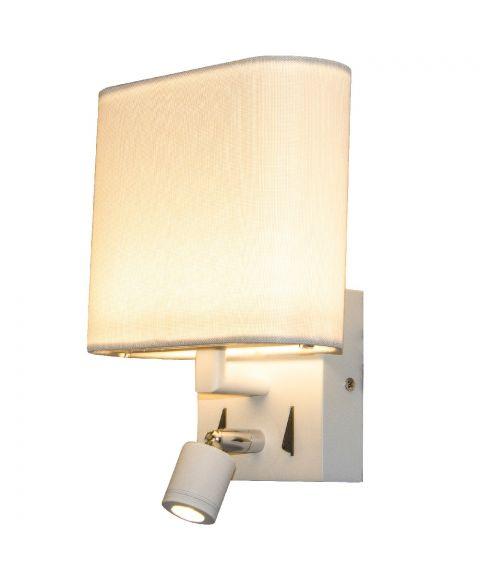 Lota vegglampe med hvit lampeskjerm