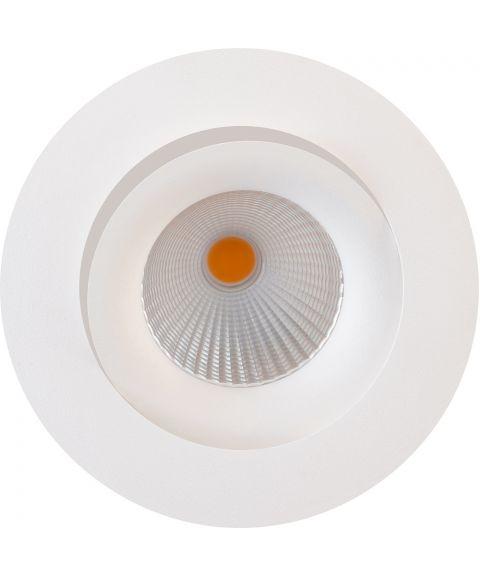 Georgia rund downlight, CRI90, dimbar 7W LED, 30º tilt, inklusive driver, Hvit (restlager)