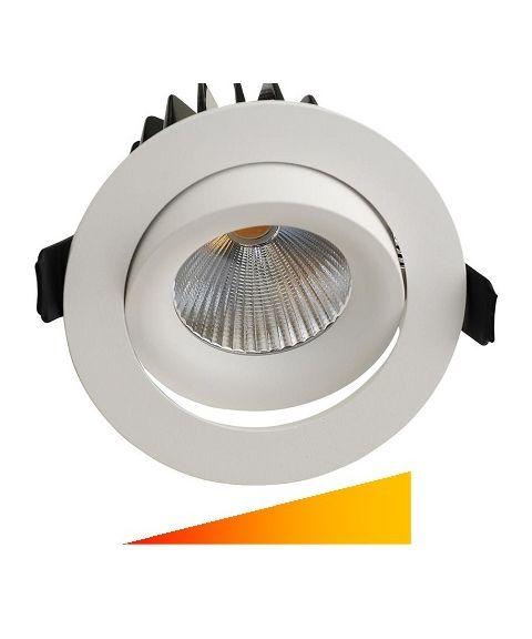 Georgia rund downlight, LED, 30º tilt, inklusive dimbar driver, Dim to warm