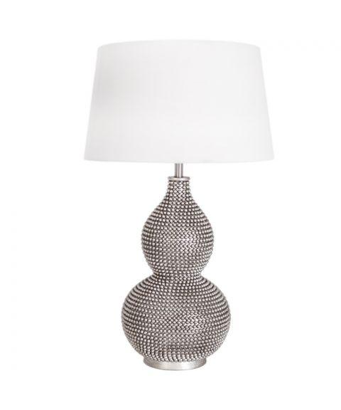 Lofty bordlampe, høyde 55 cm, Satin/Hvit lampeskjerm