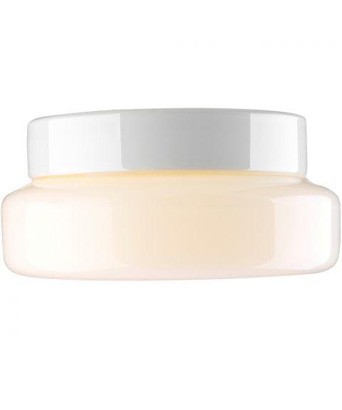 Classic taklampe IP44, diameter 24 cm, Blankt opalhvitt glass/Hvit