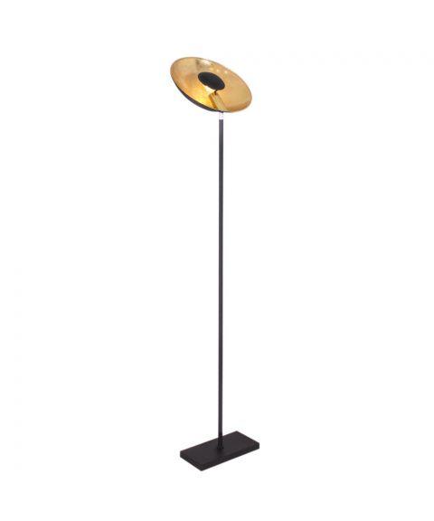 Captain Uplight gulvlampe, høyde 171 cm, Matt sort/Gull