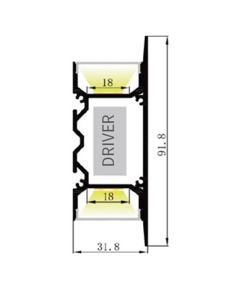 Aluminiumsprofil Lumistar 3292, 2 meter, Aluminium / Frostet avdekning