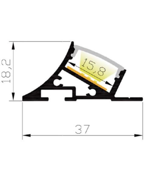 Aluminiumsprofil Lumistar 3720, 2 meter, Aluminium / Opalhvit avdekning