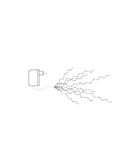 Bukettslynge med duggdråper, 200 cm, LED (x360), Kaldhvit