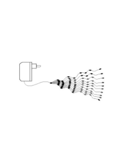 Bukettslynge bunt med duggdråper, 200 cm, LED (x200), Kaldhvit
