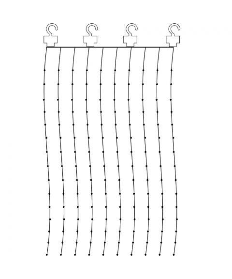 Duggdråper gardin 1x2 meter, for innendørs bruk, sølvfarget, LED (x200), Varmhvitt lys