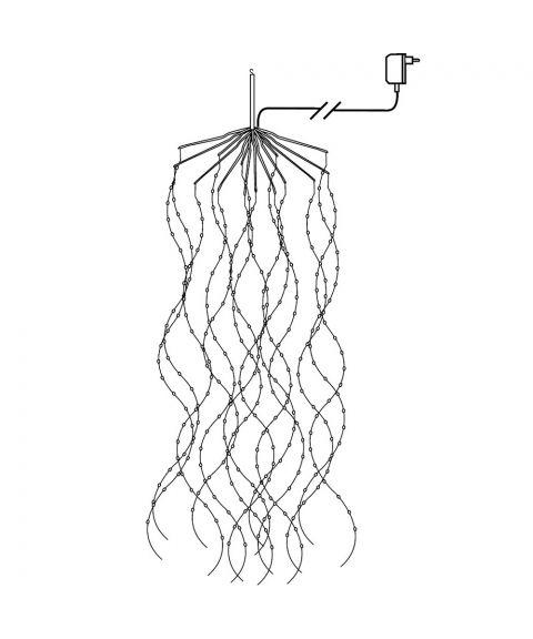 Duggdråper hengende sølv kabel, LED (x600), Varmhvitt lys